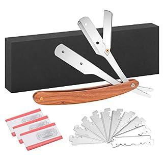 Newtiy Edelstahl Rasiermesser inkl. 30 Klingen + Etui - Präzises Wechselklingenmesser mit hochwertigem braune Griff aus Rosenholz für Einsteiger & Fortgeschrittene - Ideal zum Rasieren