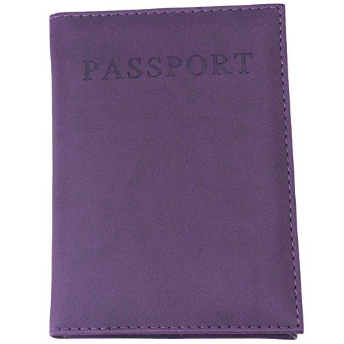 Supporto copertina del passaporto per le donne o gli uomini. Raccoglitore dell'unità di elaborazione da viaggio in pelle (Viola)