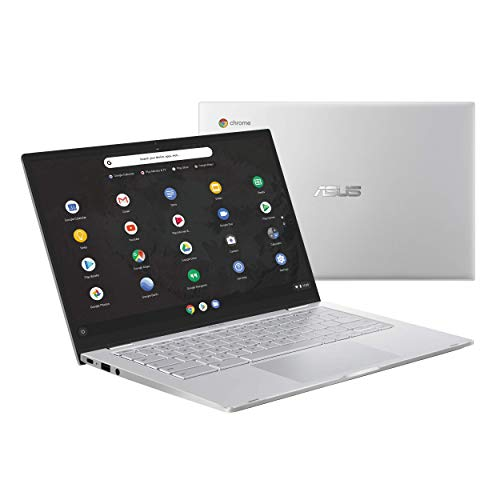 ASUS Chromebook C425 Clamshell Laptop, 35,6 cm (14 Zoll) FHD 4-Wege-NanoEdge, Intel Core M3-8100Y Prozessor, 8 GB RAM, 64 GB eMMC-Speicher, hintergrundbeleuchtete KB, Silber, Chrom, OS, C425TA-DH384