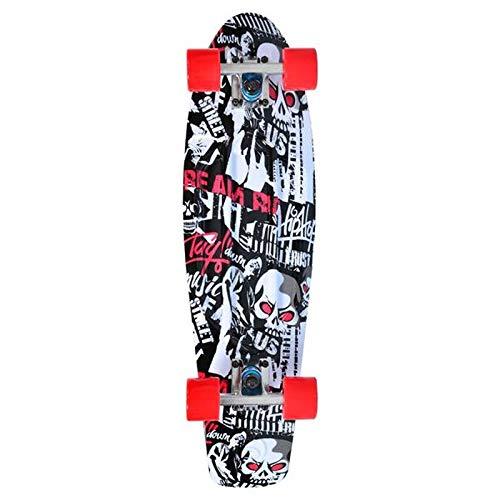 MONi Kinder Skateboard Skull 27', 85A PU Rollen, ABEC 7, Alu-Achsen, Lenkgummis 90A