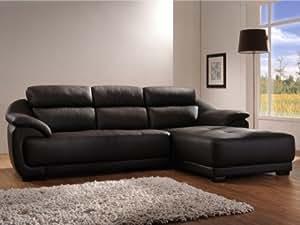 Canapé d'angle en cuir BENITO - Chocolat - Angle droit
