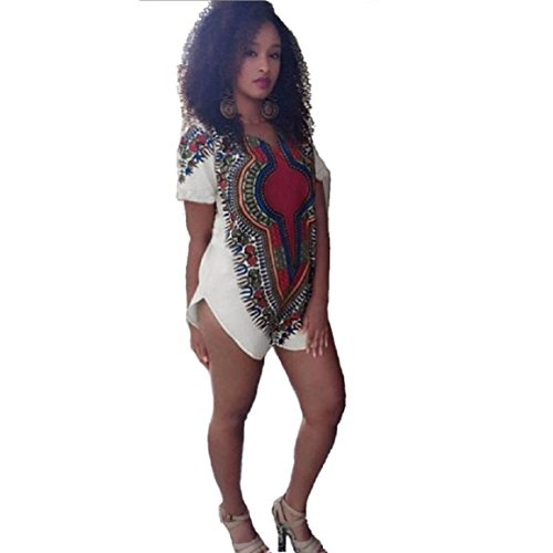 Malloom Femmes Robe Traditionnelle Hippie African Party Dashiki Tribal Multicolore