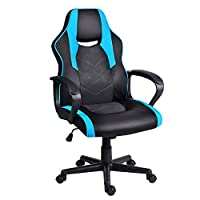 EUCO Gaming Chair,Computer Desk Chair with Padded Armrests Ergonomics Office Chair PU Leather Racing PC Chair Swivel Chair,Red/Blue/White/Black