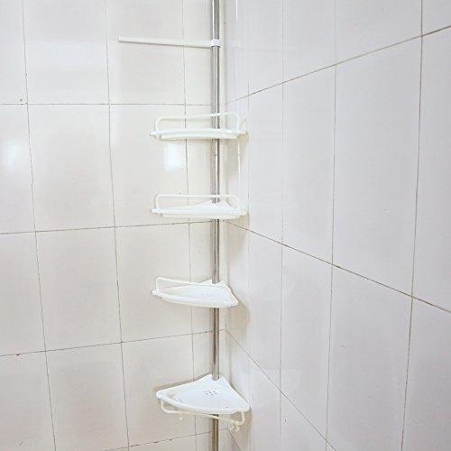 Regal-Teleskopregal, Regal Badezimmer höhenverstellbar 105-310cm 4Ablagen, Organizer für Shampoo Seife servieteur