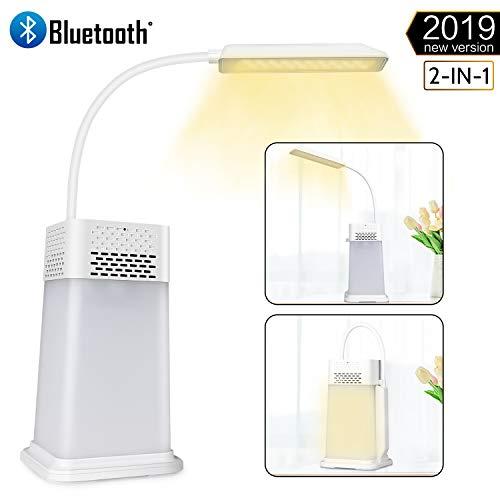 AGM Lampe de Chevet - Lampe de Table 2 en 1 Avec Enceinte Bluetooth 4.0 Portable, Lampe Rechargeable, Luminosité Réglable, Contrôle Tactile, Lecteur MP3, Mains Libres pour Eclairage Intérieure et Fête