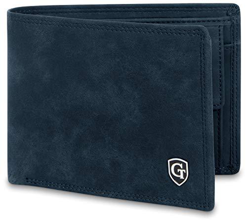 GenTo® Herren Geldbörse Manhattan im Querformat mit Münzfach - TÜV geprüfter RFID, NFC Schutz - Geldbeutel für Männer - erhältlich in 5 Farben | Design Germany (Marine-Blau Soft)