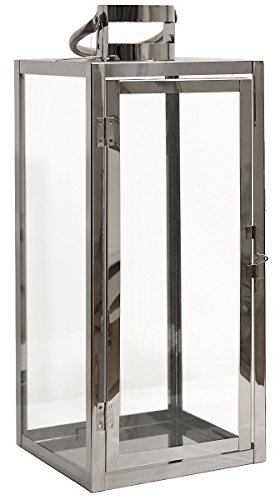 Dekovita Gartenlaterne 49cm Edelstahl-Laterne mit rundem Henkel Deko Kerzenhalter Windlicht hitzebeständiges Temperglas