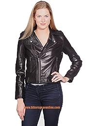 Las mujeres de la chaqueta de piel auténtica estilo motocicleta doble cremallera Buter Regular de piel