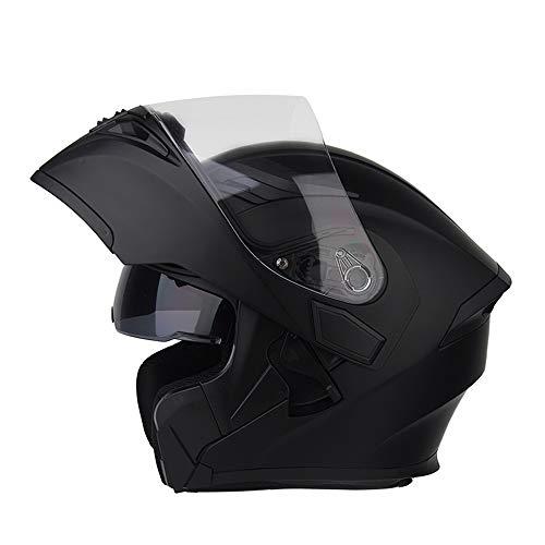 ZXLO Casco da Moto Bluetooth Casco da Corsa, Flip Up Modulare Integrato O Full Face Comunicazione con Doppio Visore A Doppia Faccia (Sistema FM Radio Bluetooth Integrato),Mattblack,XXXL