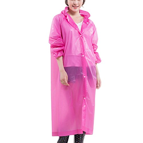 Zhhlinyuan Portable Womens Slim Hooded EVA Waterproof Raincoat Rain Poncho Rose Red