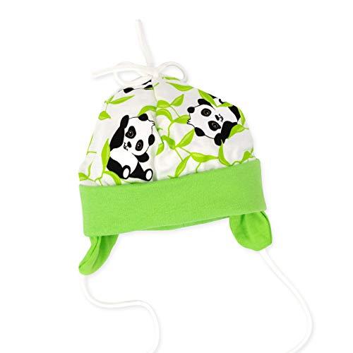 Baby Sweets Baby Sweets Baby Mütze Unisex beige-grün | Motiv: Happy Panda | Babymütze aus Bambus zum Binden für Neugeborene & Kleinkinder | Größe: 1 Monat (56)