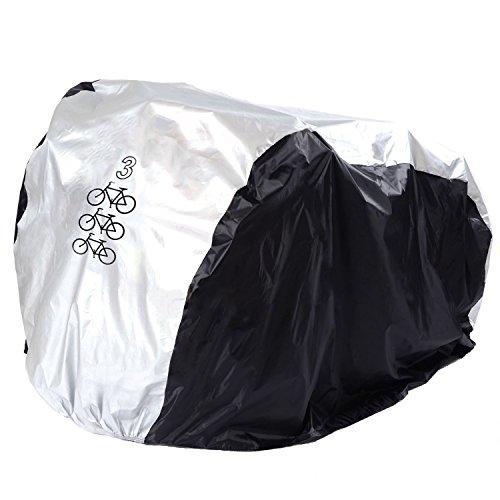 FunYoung Fahrradabdeckung Wasserdicht Polyester Fahrradschutzhülle Fahrradgarage Silbern Schwarz (200*105*110cm)
