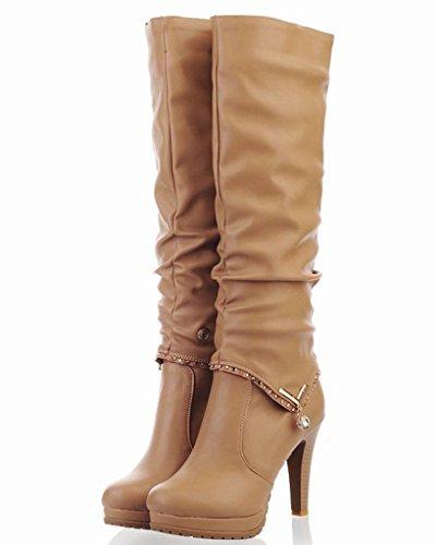 Minetom Donna Autunno Inverno 2 Indossando Stile Boots Tacco Alto Stivali Lunghi Biker Boots Stivaletto Beige