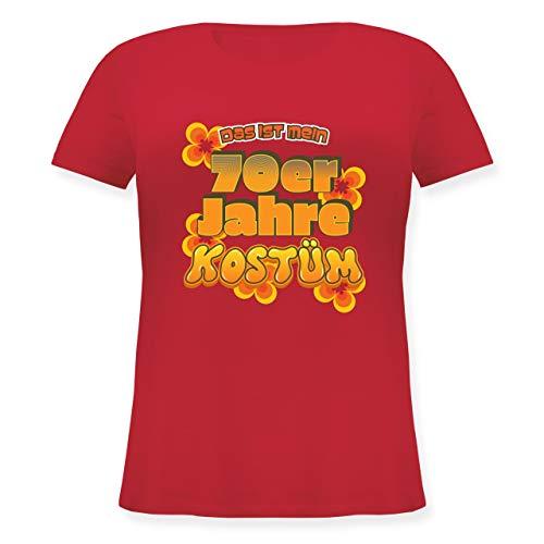 Karneval & Fasching - Das ist Mein 70er Jahre Kostüm - L (48) - Rot - JHK601 - Lockeres Damen-Shirt in großen Größen mit Rundhalsausschnitt (Kostüm Frauen Tron)