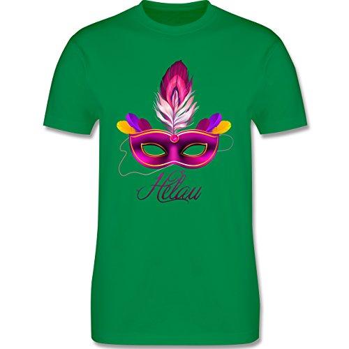 Karneval & Fasching - Maske Helau - Herren Premium T-Shirt Grün