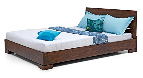 Urban Ladder Ohio Solid Wood Queen Size Bed (Teak Finish)
