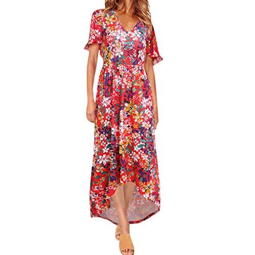 UINGKID Sommerkleid Damen Kleid Tshirt Retro Elegant Kurzarm Minikleid Kleider V-Ausschnitt Front-Short-Back Lange bedruckteer