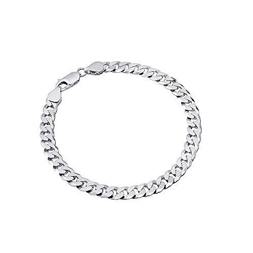 925 Männer Armband Sterling Silber (MATERIA Herren Armband Panzerkette 8mm flach 925 Silber rhodiniert 8-fach diamantiert #SA-63, Länge:21 cm)