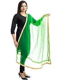 Lodestone Women's Net Dupatta With Lace Work(Green)