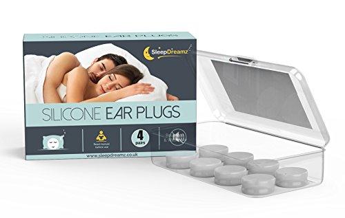 Tapones para los oídos de silicona SleepDreamz (4 pares) - ¡BLOQUEE YA EL RUIDO NO DESEADO! - Tapones para los oídos diseñados para proteger contra ruidos de alto decibelios - Tapones para los oídos para dormir, que evitan el ruido de los ronquidos y otros sonidos fuertes, para que pueda dormir mejor.