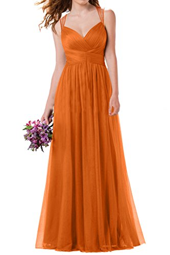 Milano Bride Damen Zwei-Traeger Lang Abendkleider Festkleider Ballkleider Brautjungferinkleider Faltenwurf Orange