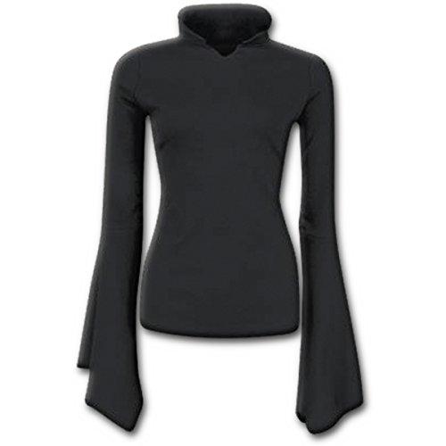 Spiral Direct Damen Gothic Elegance-High Neck Goth Top Black Langarmshirt, Schwarz 001, 42 (Herstellergröße: Large)