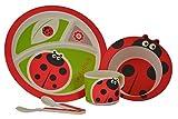 Set da pranzo per bambini - Set da pranzo in fibra di bambù a 5 pezzi in design a coccinella di Mini Mumbler® | Set da tavola | Set di posate | Ore dei pasti | Svezzamento | Eco-Friendly