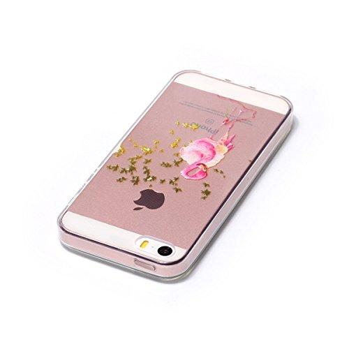 iPhone 5S Hülle, iPhone SE Hülle, Gift_Source [ Maple Leaf & Flamingo ] weichem und transparentem TPU Transparent Weiche Silikon Schutzhülle TPU Schutz Handy Hülle Case Tasche Etui Bumper für iPhone S E1-Maple Leaf & Flamingo