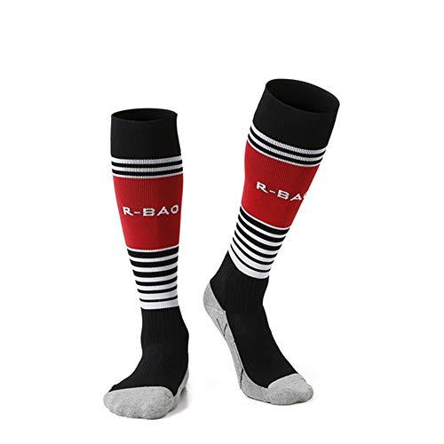 Kalb Hohe Plattform (MLYmid Jugendfußball Socken Jungen Mädchen Kniestreifen Kompressionsfußball Socken (7-12 Jahre Kinder))