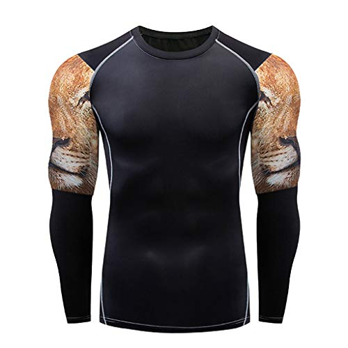 DNOQN Running Shirt Herren T Shirt Lange ärmel Herren Beiläufig Fitness Schnell Trocknende Elastische Atmungsaktive Sport Fest Langarmshirts L