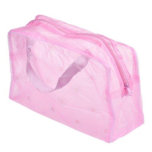 Cosmetic Bag Femmes,❤️Xinan❤️ Sac d'organisateur portatif de poche de brosse à dents de lavage de voyage de toilette cosmétique de maquillage (23cm*13cm*9cm/9.1*5.1*3.5, Rose)