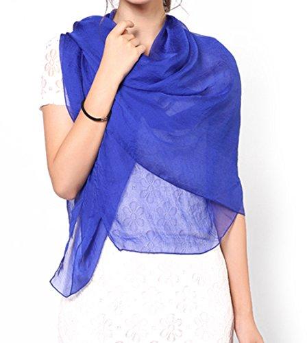 OUYE Scialle Donna Semplice Elegante Chiffon Sciarpa Grande Pashmina Blu Zaffiro