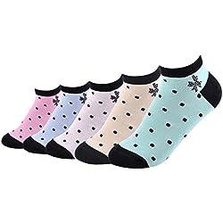 Set de 5 Calcetines de Verano para Mujer Chicas Estampado Lunares Calcetines Deportivo Cortos de Algodón Suave