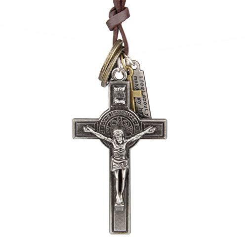 ger Kreuz Retro Jesus Christus Leder Seil Dekoration Auto Interior Rückspiegel hängen Zubehör Geschenke ()