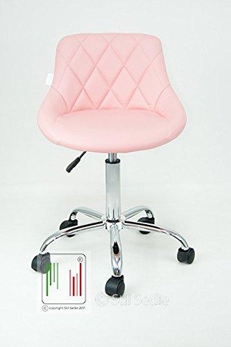 Stil sedie - poltrona sedia cameretta da lavoro girevole modello gaia sedia da ufficio con sedile in eco pelle trapuntata e base in metallo cromato con ruote, da scrivania con schienale e regolabile in altezza, colore rosa