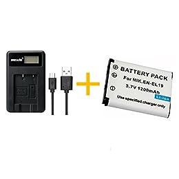 EN-EL19 Batería ENEL19 con un solo cargador de batería para Coolpix S32 S33 S100 S2500 S2750 S3100 S3200 S3300 S3400 (1 pcs battery with charger)