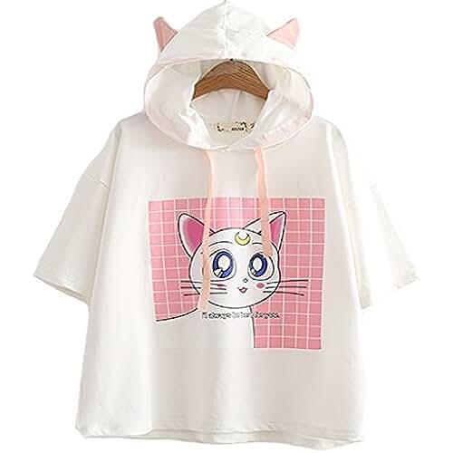 ropa kawaii para los mas guays Himifahsion - Camiseta - Animal Print - para mujer