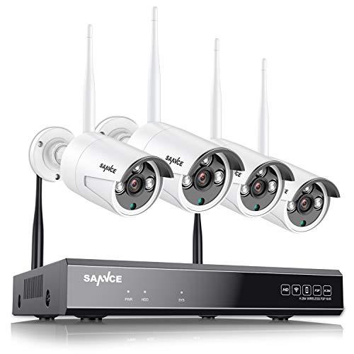 SANNCE 8CH Wireless kit de Surveillance sans Fil 1080P NVR Enregistreur No HDD avec 4 1080P IP Caméra de Vidéosurveillance Sécurité WiFi Extérieur Smartphone Accès à Distance