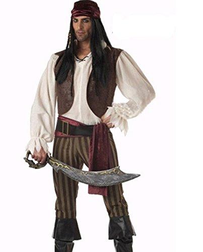 DLucc Halloween-Kostüme Piraten der karibischen Piratenkapitän Piratenkleidung Piraten Kostüme männlich