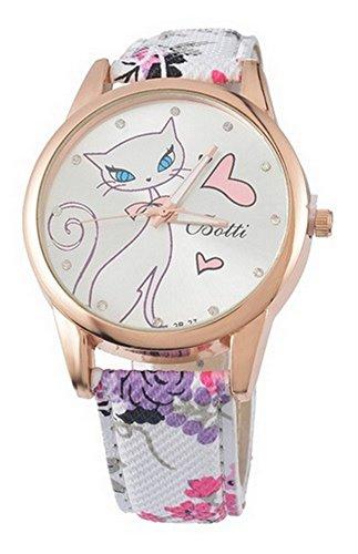 Reloj Pulsera Mujer Estampado Gato en reloj y flores sobre pulsera.