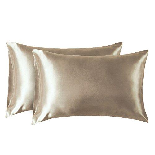 Bedsure Satin Kissenbezüge 40 x 80 cm Kamel - 2 Stück Kopfkissenbezüge aus hochwertige Mikrofaser für Haar- und Hautpflege -