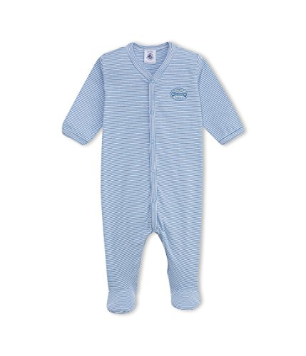 Petit Bateau Baby - Jungen Schlafstrampler DORS BIEN, Gestreift, Gr. 62 (Herstellergröße: 3m/60cm), Mehrfarbig (ALASKA/ECUME 27) - Rippstrick-muster