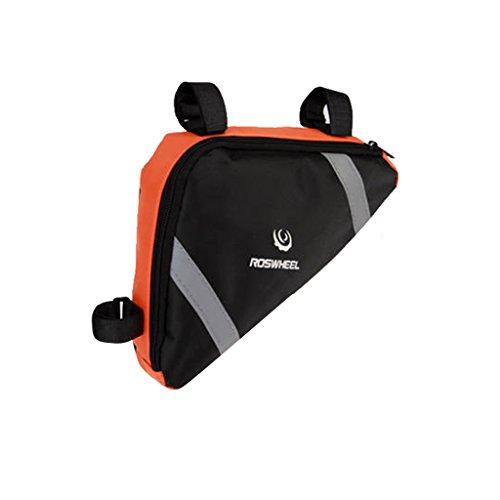 Generic Fahrrad Rahmentasche, dreieckig und praktisch, Sportliche und Praktische Werkzeugtasche, Handytasche Orange