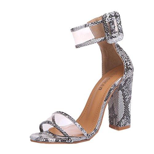 ESAILQ Femme Eté Sandales à Talons Épais Talons Hauts Chaussures Sandales ce11457ee190