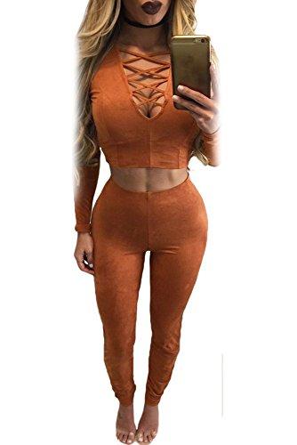 Faux 2 Stück Top (Damen Burnt Orange Faux Suede 2Stück Bauchfreies Top Pant Set Jumpsuit Catsuit Clubwear Kleidung Größe S UK 8–10EU 36–38)