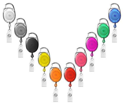1 x Karteo® Ausweisjojo schwarz | Ausweis Jojo oval | Vinylstrap gewerbeverstärkt und Aufrollmechanismus | für Ausweishüllen Kartenhüllen Ausweishalter Kartenhalter