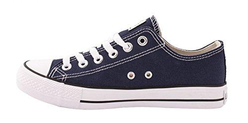 Elara Unisex Sneaker | Bequeme Sportschuhe für Herren und Damen | Low top Turnschuh Textil Schuhe 36-46 Blau