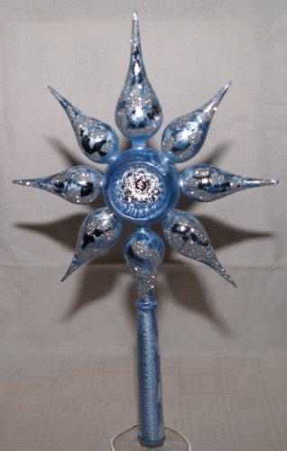 Christbaumspitze Stern eisblau/silber von 'Jingle Bells Lauscha' , mundgeblasen und von Hand dekoriert