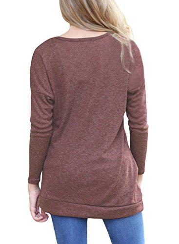 Yidarton Femme Automne Tee Shirt Manche Longue Lache Tunique Top Haut Blouse Avec Boutons Marron