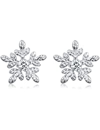 810df104e SELOVO Genuine 925 Sterling Silver Small 8MM White Zircon Snowflake Stud  Earrings